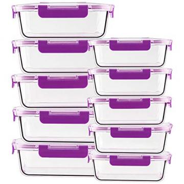 Crest [10er Set] Groß Glas Frischhaltedosen, Luftdicht, Auslaufsichere, BPA-Frei, Purpur - 3