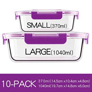 Crest [10er Set] Groß Glas Frischhaltedosen, Luftdicht, Auslaufsichere, BPA-Frei, Purpur - 6