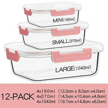 CREST 12-Teiliges Set Glas Frischhaltedose mit Verschluss, Aufbewahrungsbehälter aus Glas, Auslaufsichere, BPA-Frei - 3