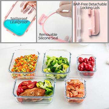 CREST 12-Teiliges Set Glas Frischhaltedose mit Verschluss, Aufbewahrungsbehälter aus Glas, Auslaufsichere, BPA-Frei - 5