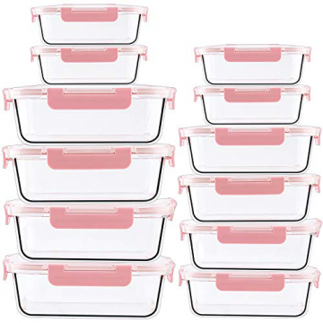 CREST 12-Teiliges Set Glas Frischhaltedose mit Verschluss, Aufbewahrungsbehälter aus Glas, Auslaufsichere, BPA-Frei - 6
