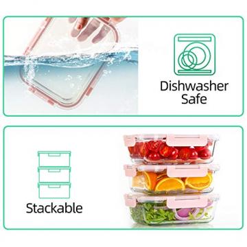 CREST 12-Teiliges Set Glas Frischhaltedose mit Verschluss, Aufbewahrungsbehälter aus Glas, Auslaufsichere, BPA-Frei - 7
