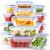 Crest [15er Set] Glas-Frischhaltedosen - Vorratsbehälter mit Deckel - Luftdicht, BPA-Frei, Geeignet für Mikrowelle, Gefrierschrank und Spülmaschine - 2