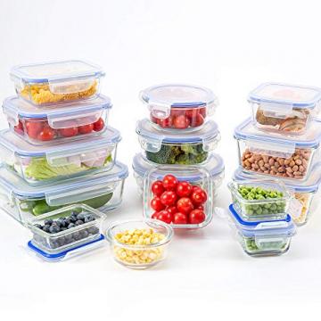 Crest [15er Set] Glas-Frischhaltedosen - Vorratsbehälter mit Deckel - Luftdicht, BPA-Frei, Geeignet für Mikrowelle, Gefrierschrank und Spülmaschine - 3