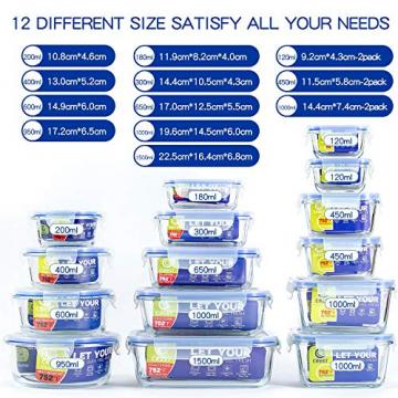 Crest [15er Set] Glas-Frischhaltedosen - Vorratsbehälter mit Deckel - Luftdicht, BPA-Frei, Geeignet für Mikrowelle, Gefrierschrank und Spülmaschine - 4