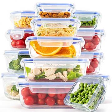 Crest [15er Set] Glas-Frischhaltedosen - Vorratsbehälter mit Deckel - Luftdicht, BPA-Frei, Geeignet für Mikrowelle, Gefrierschrank und Spülmaschine - 1