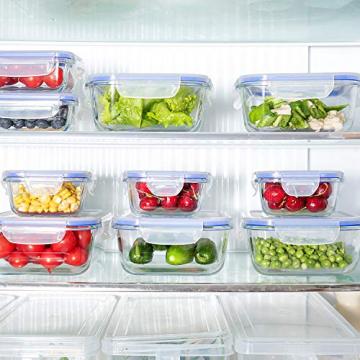 Crest [15er Set] Glas-Frischhaltedosen - Vorratsbehälter mit Deckel - Luftdicht, BPA-Frei, Geeignet für Mikrowelle, Gefrierschrank und Spülmaschine - 5