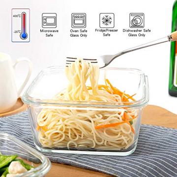 Crest [15er Set] Glas-Frischhaltedosen - Vorratsbehälter mit Deckel - Luftdicht, BPA-Frei, Geeignet für Mikrowelle, Gefrierschrank und Spülmaschine - 6