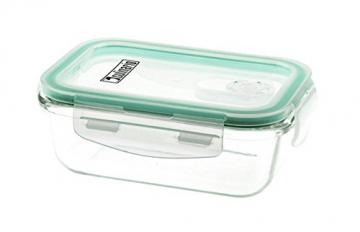 Culinario Cloc Frischhaltedosen aus Glas, 350 ml, mit Mikrowellen-Deckel, in grün - 1