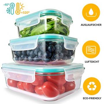 Dipmi Glas Frischhaltedosen 3er-Set, Meal Prep Boxen mit Deckel, spülmaschinen-, mikrowellen- und gefrierschrankgeeignet, luftdicht, BPA-frei - 1