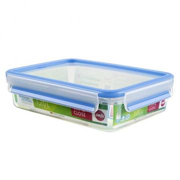 Emsa 508542 Rechteckige Frischhaltedose mit Deckel, 1.2 Liter, Transparent/Blau, Clip & Close - 1
