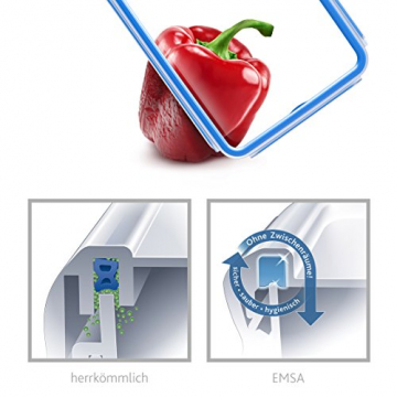 Emsa 508542 Rechteckige Frischhaltedose mit Deckel, 1.2 Liter, Transparent/Blau, Clip & Close - 8