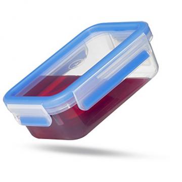 Emsa 508542 Rechteckige Frischhaltedose mit Deckel, 1.2 Liter, Transparent/Blau, Clip & Close - 9