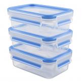 Emsa 508570 Clip & Close Frischhaltedosen   3-teiliges Set   3 x 0,55 L   -40 bis +100 Grad   Kunststoff   100 % Dicht   Besondere Frische-Dichtung - 1