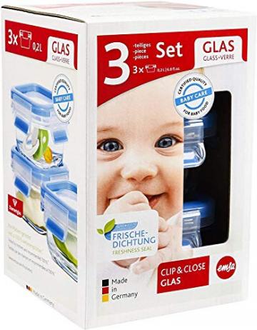 Emsa 515988 Clip & Close Glas Frischhaltedosen | 3er Set | 3 x 0,2 L | Quadratisch | 100%Dicht | Baby-Set | Erfüllt Baby Care Norm | BPA-Frei | Frische Dichtung - 4