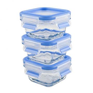 Emsa 515988 Clip & Close Glas Frischhaltedosen | 3er Set | 3 x 0,2 L | Quadratisch | 100%Dicht | Baby-Set | Erfüllt Baby Care Norm | BPA-Frei | Frische Dichtung - 1