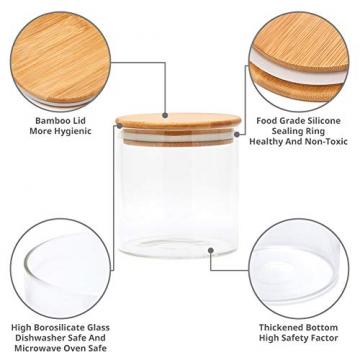 EZOWare 5er Set Glas Vorratsdosen, Vorratsgläser aus Borosilikatglas Küche Lebensmittel Lagerung Behälter mit Bambus Deckel - 2100ml / 1400ml / 600ml - 3