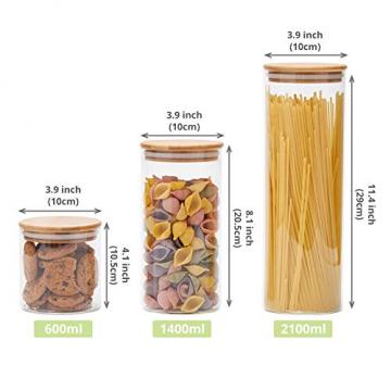 EZOWare 5er Set Glas Vorratsdosen, Vorratsgläser aus Borosilikatglas Küche Lebensmittel Lagerung Behälter mit Bambus Deckel - 2100ml / 1400ml / 600ml - 6