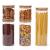 EZOWare 5er Set Glas Vorratsdosen, Vorratsgläser aus Borosilikatglas Küche Lebensmittel Lagerung Behälter mit Bambus Deckel - 2100ml / 1400ml / 600ml - 1