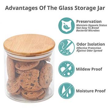 EZOWare 5er Set Glas Vorratsdosen, Vorratsgläser aus Borosilikatglas Küche Lebensmittel Lagerung Behälter mit Bambus Deckel - 2100ml / 1400ml / 600ml - 7