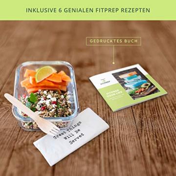 FITPREP® Frischhaltedosen aus Glas 12 teiliges Set [6 Vorratsdosen + 6 Deckel] Premium Glasbehälter mit Deckel & Lifetime Lasting Lid - perfekt für Meal prep - 2