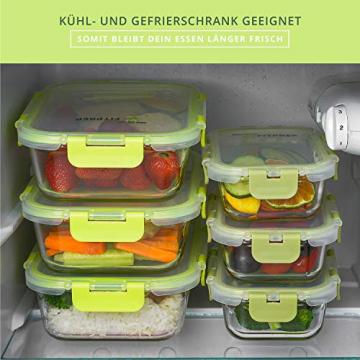 FITPREP® Frischhaltedosen aus Glas 12 teiliges Set [6 Vorratsdosen + 6 Deckel] Premium Glasbehälter mit Deckel & Lifetime Lasting Lid - perfekt für Meal prep - 3