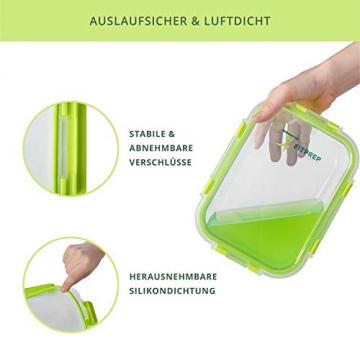 FITPREP® Frischhaltedosen aus Glas 12 teiliges Set [6 Vorratsdosen + 6 Deckel] Premium Glasbehälter mit Deckel & Lifetime Lasting Lid - perfekt für Meal prep - 5