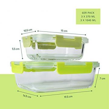 FITPREP® Frischhaltedosen aus Glas 12 teiliges Set [6 Vorratsdosen + 6 Deckel] Premium Glasbehälter mit Deckel & Lifetime Lasting Lid - perfekt für Meal prep - 6