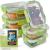 FITPREP® Frischhaltedosen aus Glas 12 teiliges Set [6 Vorratsdosen + 6 Deckel] Premium Glasbehälter mit Deckel & Lifetime Lasting Lid - perfekt für Meal prep - 1