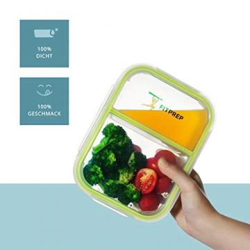 FITPREP® - Frischhaltedosen aus Glas [4 Stück-1040 ml] - 2 komplett dichte & getrennte Fächer - perfekte Meal Prep Boxen, inkl. schönem Rezeptheft - tolle Glasbehälter mit Deckel - 2