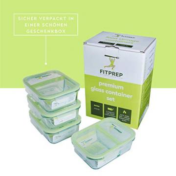 FITPREP® - Frischhaltedosen aus Glas [4 Stück-1040 ml] - 2 komplett dichte & getrennte Fächer - perfekte Meal Prep Boxen, inkl. schönem Rezeptheft - tolle Glasbehälter mit Deckel - 3
