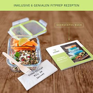 FITPREP® - Frischhaltedosen aus Glas [4 Stück-1040 ml] - 2 komplett dichte & getrennte Fächer - perfekte Meal Prep Boxen, inkl. schönem Rezeptheft - tolle Glasbehälter mit Deckel - 5