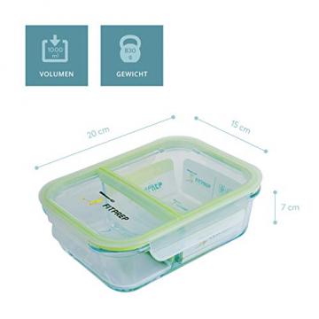 FITPREP® - Frischhaltedosen aus Glas [4 Stück-1040 ml] - 2 komplett dichte & getrennte Fächer - perfekte Meal Prep Boxen, inkl. schönem Rezeptheft - tolle Glasbehälter mit Deckel - 8