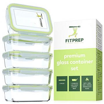 FITPREP® Frischhaltedosen aus Glas mit Deckel [5 Stück - 840ml] - super für Meal Prep - Glasbehälter mit Deckel der 100% dicht ist - inkl. schönem Rezeptheft - 3