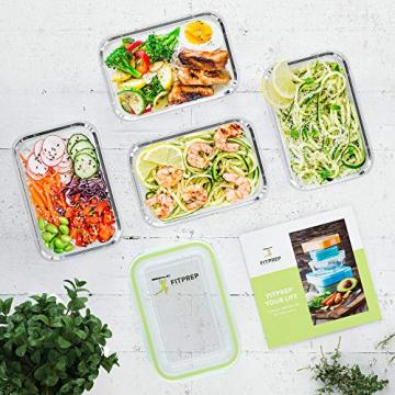 FITPREP® Frischhaltedosen aus Glas mit Deckel [5 Stück - 840ml] - super für Meal Prep - Glasbehälter mit Deckel der 100% dicht ist - inkl. schönem Rezeptheft - 4