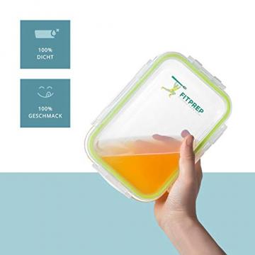 FITPREP® Frischhaltedosen aus Glas mit Deckel [5 Stück - 840ml] - super für Meal Prep - Glasbehälter mit Deckel der 100% dicht ist - inkl. schönem Rezeptheft - 5