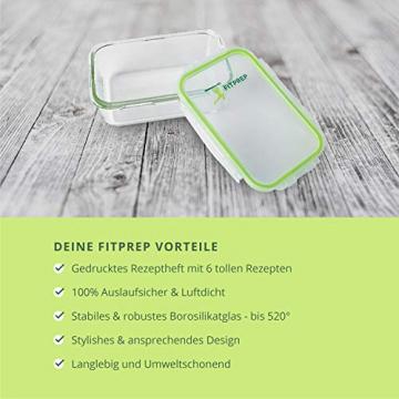FITPREP® Frischhaltedosen aus Glas mit Deckel [5 Stück - 840ml] - super für Meal Prep - Glasbehälter mit Deckel der 100% dicht ist - inkl. schönem Rezeptheft - 7