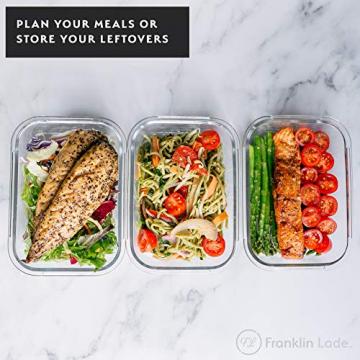 Franklin Lade® 5-teiliges Glas-Frischhaltedosen-Set 860ml | BPA-freie, Luftdichte, Auslaufsichere Deckel | Perfekte Meal Prep Lunchboxen | Mikrowellen-, Ofen, Gefrierschrank & Spülmaschinenfest - 2