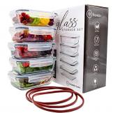 Franklin Lade® 5-teiliges Glas-Frischhaltedosen-Set 860ml | BPA-freie, Luftdichte, Auslaufsichere Deckel | Perfekte Meal Prep Lunchboxen | Mikrowellen-, Ofen, Gefrierschrank & Spülmaschinenfest - 1