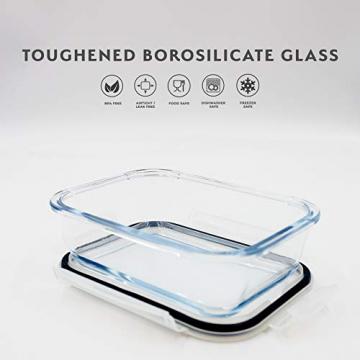 Franklin Lade® 5-teiliges Glas-Frischhaltedosen-Set 860ml | BPA-freie, Luftdichte, Auslaufsichere Deckel | Perfekte Meal Prep Lunchboxen | Mikrowellen-, Ofen, Gefrierschrank & Spülmaschinenfest - 4