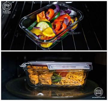 Franklin Lade® 5-teiliges Glas-Frischhaltedosen-Set 860ml | BPA-freie, Luftdichte, Auslaufsichere Deckel | Perfekte Meal Prep Lunchboxen | Mikrowellen-, Ofen, Gefrierschrank & Spülmaschinenfest - 5