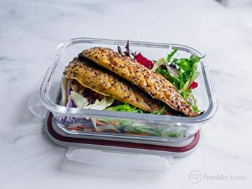 Franklin Lade® 5-teiliges Glas-Frischhaltedosen-Set 860ml | BPA-freie, Luftdichte, Auslaufsichere Deckel | Perfekte Meal Prep Lunchboxen | Mikrowellen-, Ofen, Gefrierschrank & Spülmaschinenfest - 6