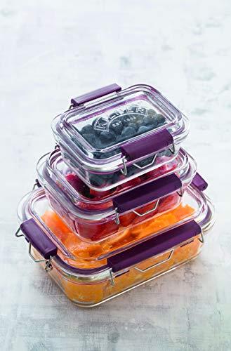 Frischhaltedose aus Borosilikatglas mit auslaufsicherem Clipverschluss-System, BPA-frei, backofen- und mikrowellenfest, 600 ml, Maße: 17 x 15 x 7,5 cm - 4