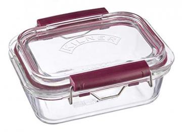 Frischhaltedose aus Borosilikatglas mit auslaufsicherem Clipverschluss-System, BPA-frei, backofen- und mikrowellenfest, 600 ml, Maße: 17 x 15 x 7,5 cm - 1