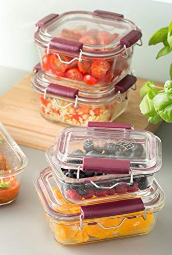 Frischhaltedose aus Borosilikatglas mit auslaufsicherem Clipverschluss-System, BPA-frei, backofen- und mikrowellenfest, 600 ml, Maße: 17 x 15 x 7,5 cm - 5