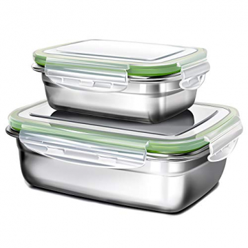 GA Homefavor Lunch Box Edelstahl Lebensmittel Obst Salat Container (2er Set) - 1