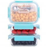 GENICOOK Frischhaltedosen aus Glas inkl. Mini Besteck, Meal prep Boxen Glas, Glasbehälter mit Deckel, Meal Prep Glasschüssel & Gefrierfach geeignet 1050ml *3 - 1