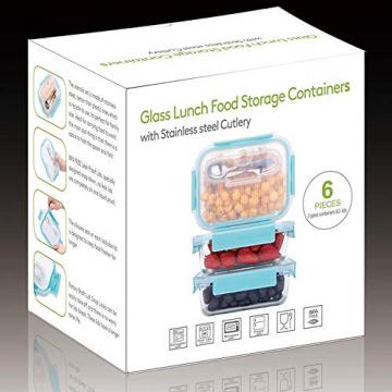 GENICOOK Frischhaltedosen aus Glas inkl. Mini Besteck, Meal prep Boxen Glas, Glasbehälter mit Deckel, Meal Prep Glasschüssel & Gefrierfach geeignet 1050ml *3 - 3