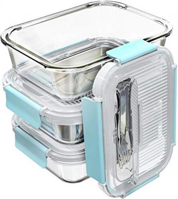 GENICOOK Frischhaltedosen aus Glas inkl. Mini Besteck, Meal prep Boxen Glas, Glasbehälter mit Deckel, Meal Prep Glasschüssel & Gefrierfach geeignet 1050ml *3 - 4