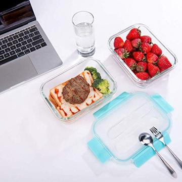 GENICOOK Frischhaltedosen aus Glas inkl. Mini Besteck, Meal prep Boxen Glas, Glasbehälter mit Deckel, Meal Prep Glasschüssel & Gefrierfach geeignet 1050ml *3 - 5